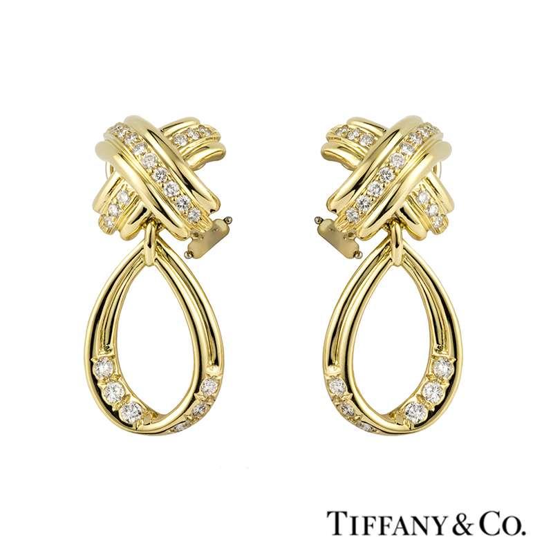 Tiffany & Co. 18k Yellow Gold Diamond Set Schlumberger Earrings